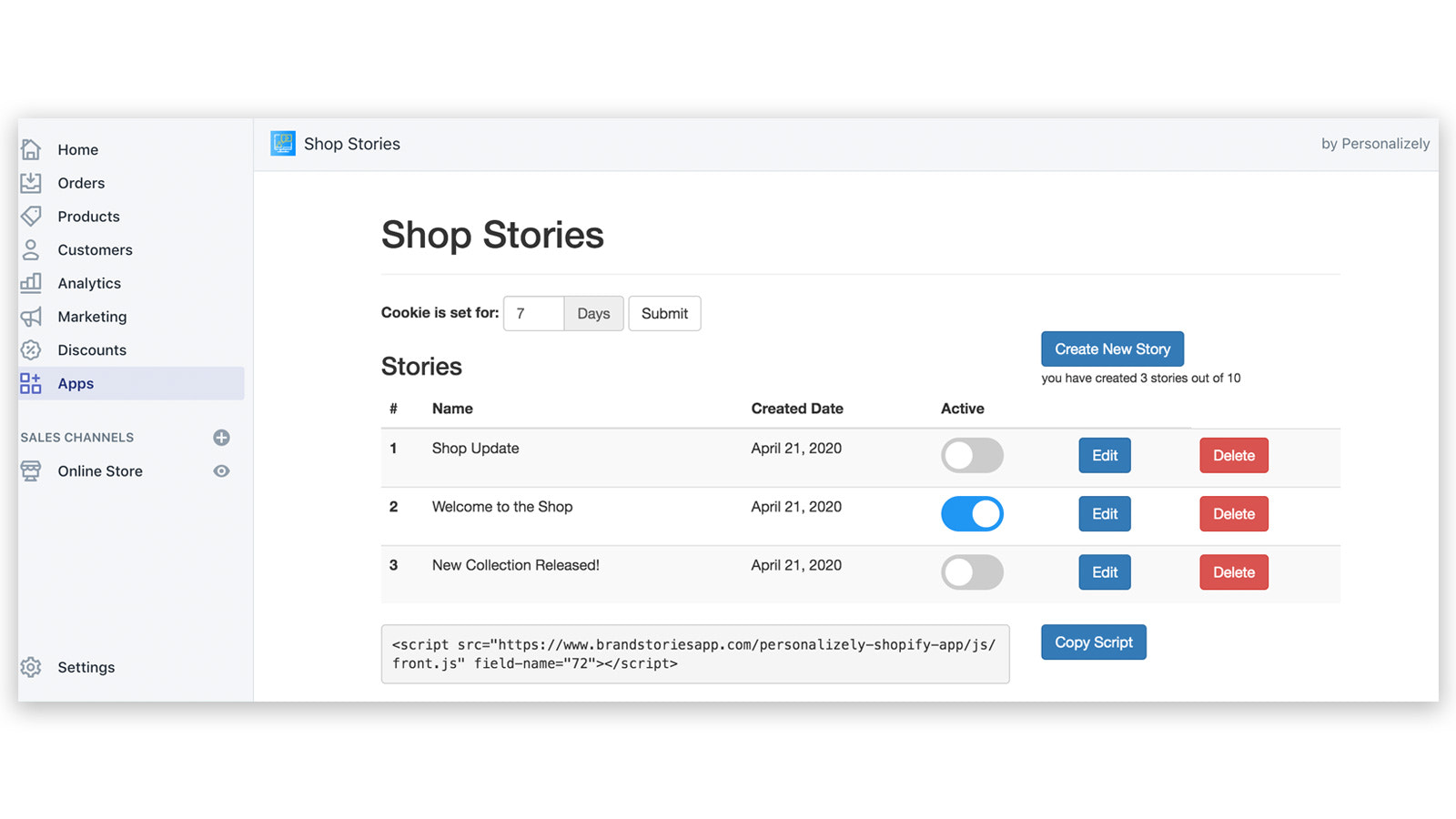 Shop Stories Shopify App with Easy User Interface for Admin