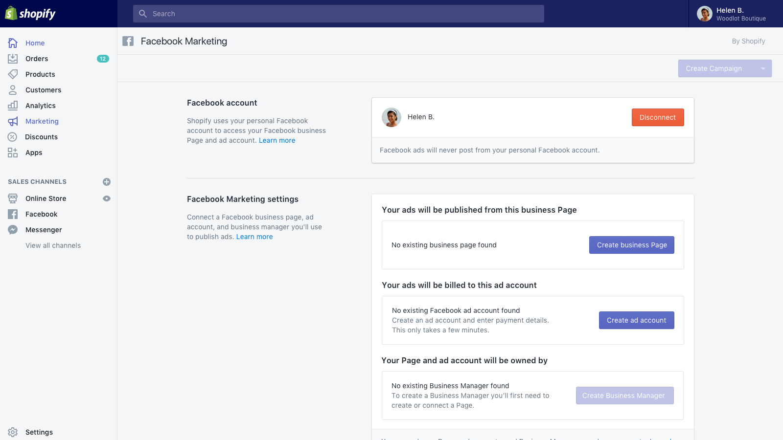 Create Facebook business manager, connect page and ad account