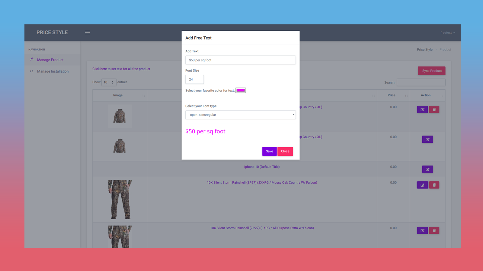 Other Product setting page