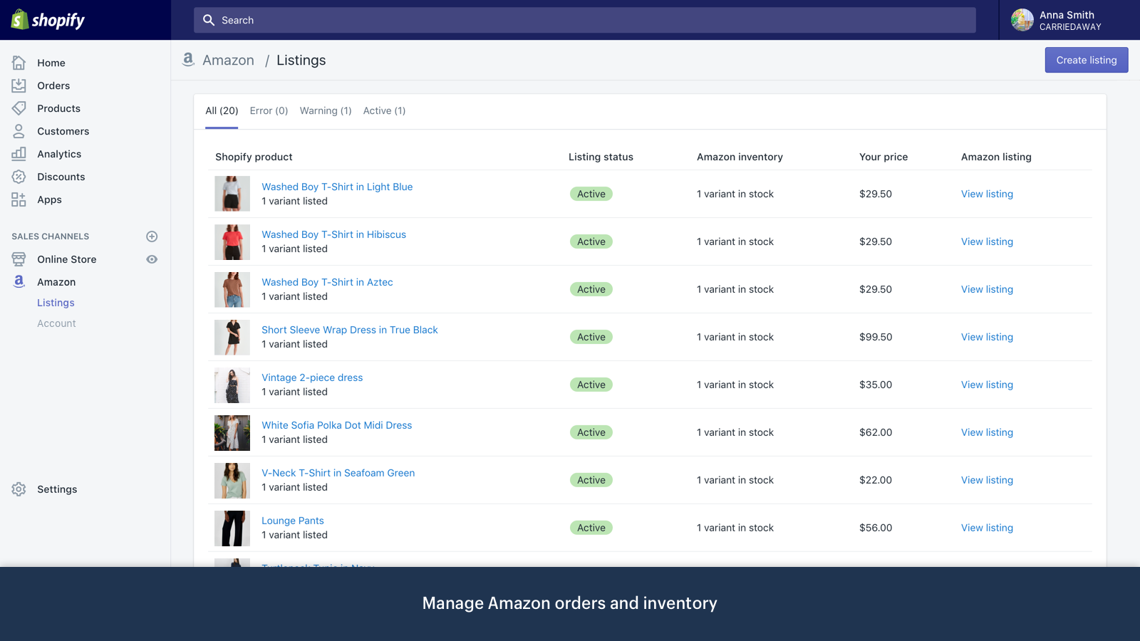 Manage Amazon orders and inventory