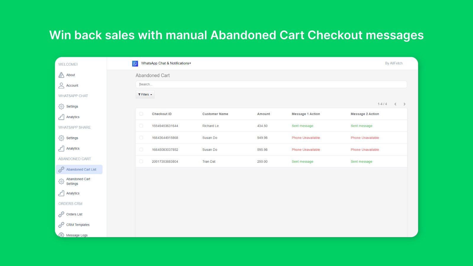 Win back sales with manual Abandoned Cart Checkout messages