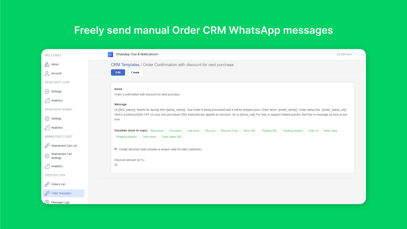 Freely send manual Order CRM Whatsapp messages