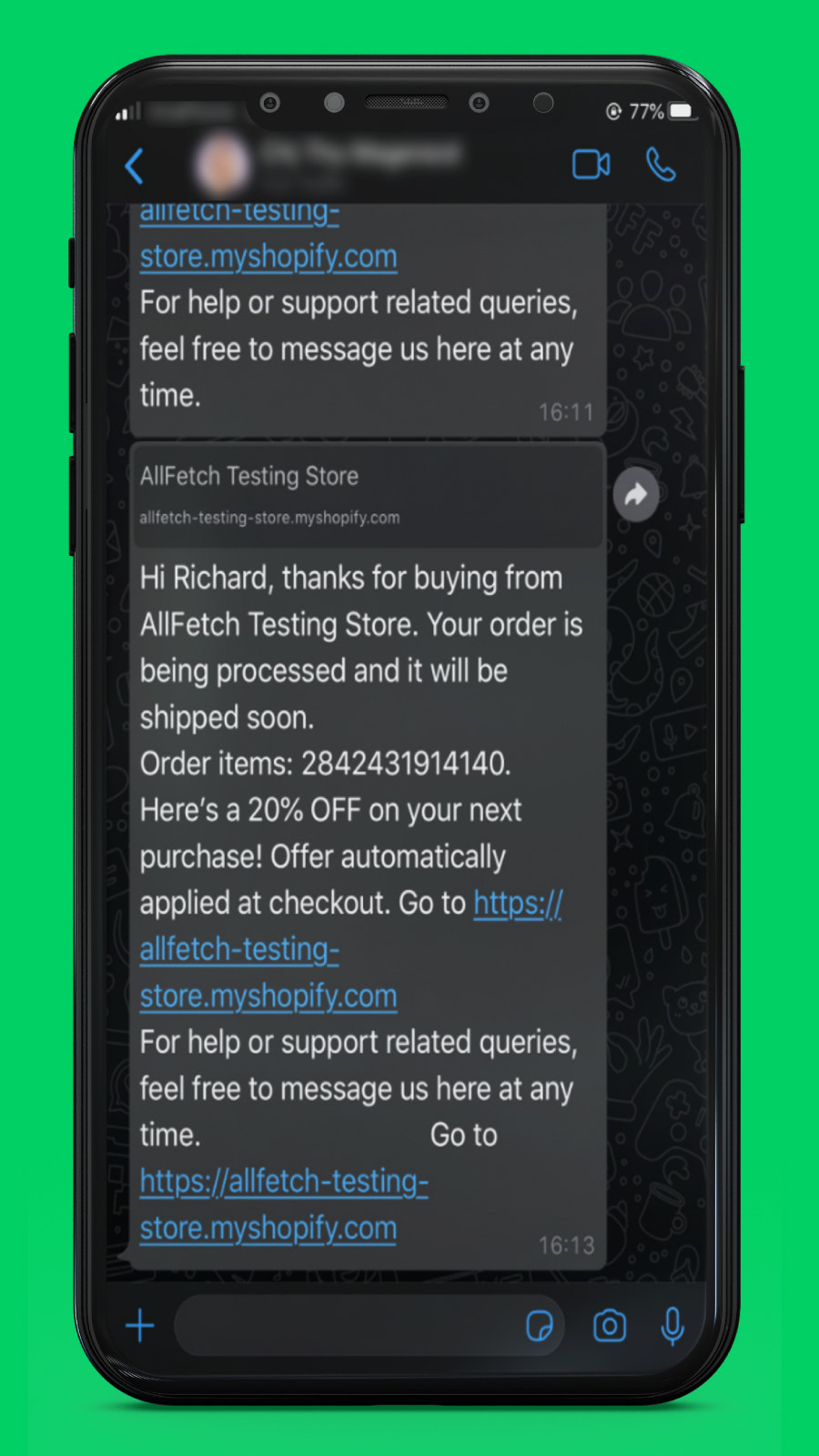 Chat with your customers via WhatsApp