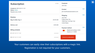 Seal subscriptions customer dashboard screenshot