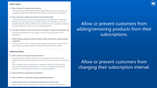 Product editing control for subscriptions