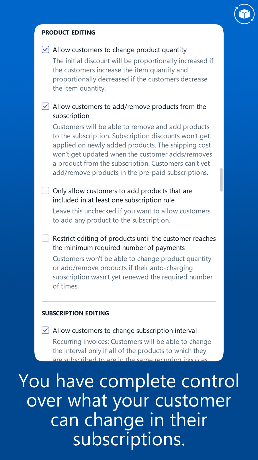 Control what customers can edit in the customer portal