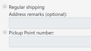 Select between regular shipping and pickup point delivery