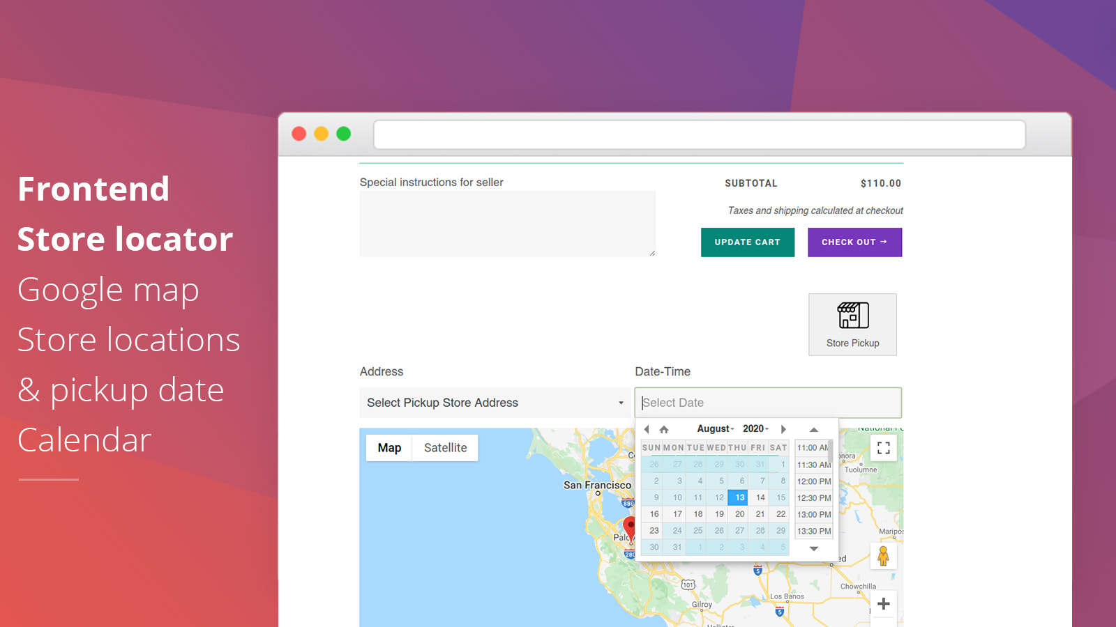 Store pickup frontend cart page pickup date and time option