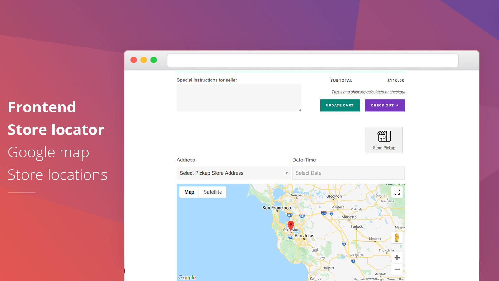 Store pickup frontend cart page store locator