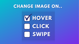 change image on hover, click and swipe