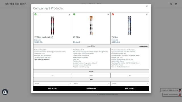 Compare It! comparing products on desktop
