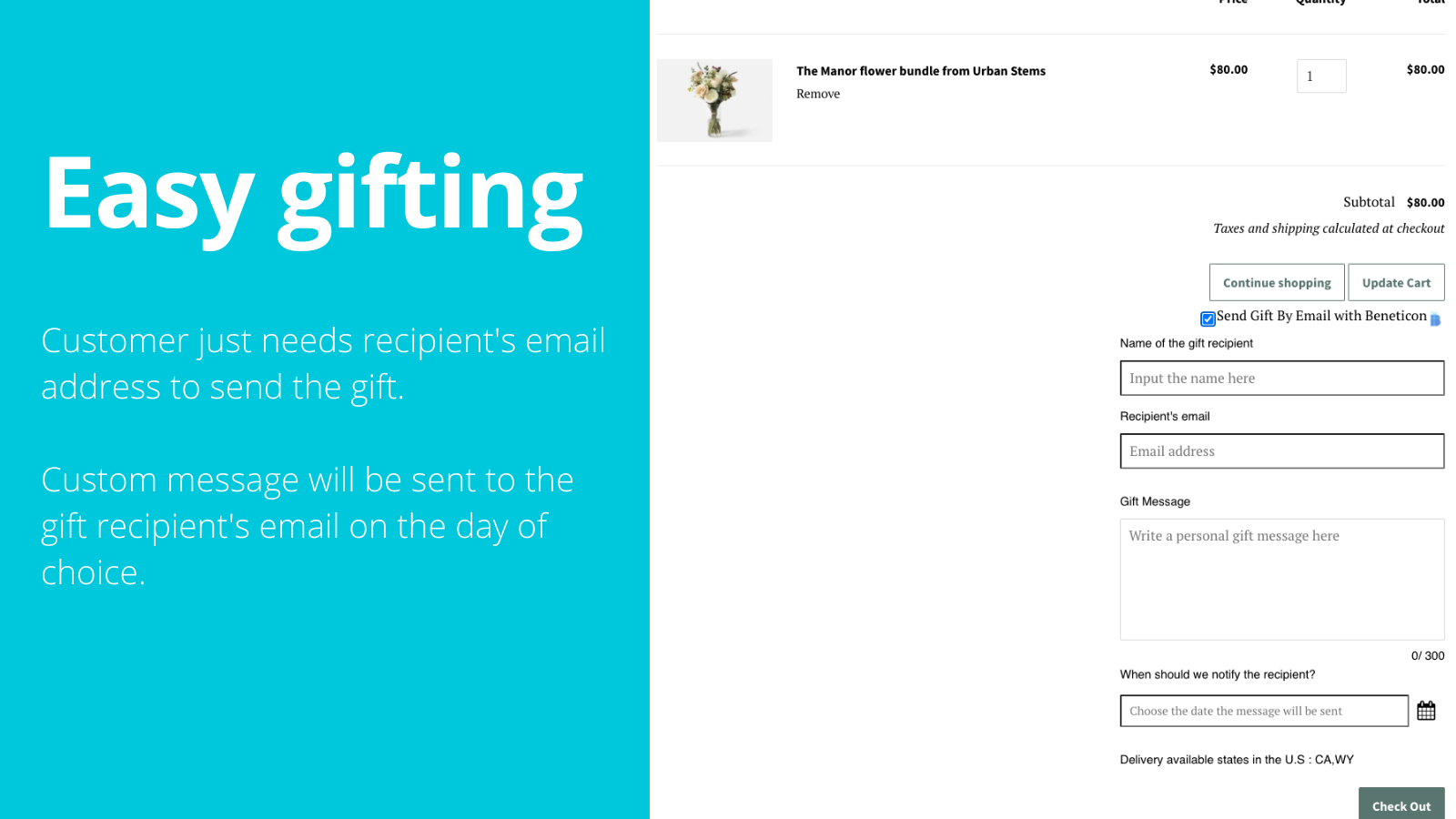 Easy gifting experience for your customers