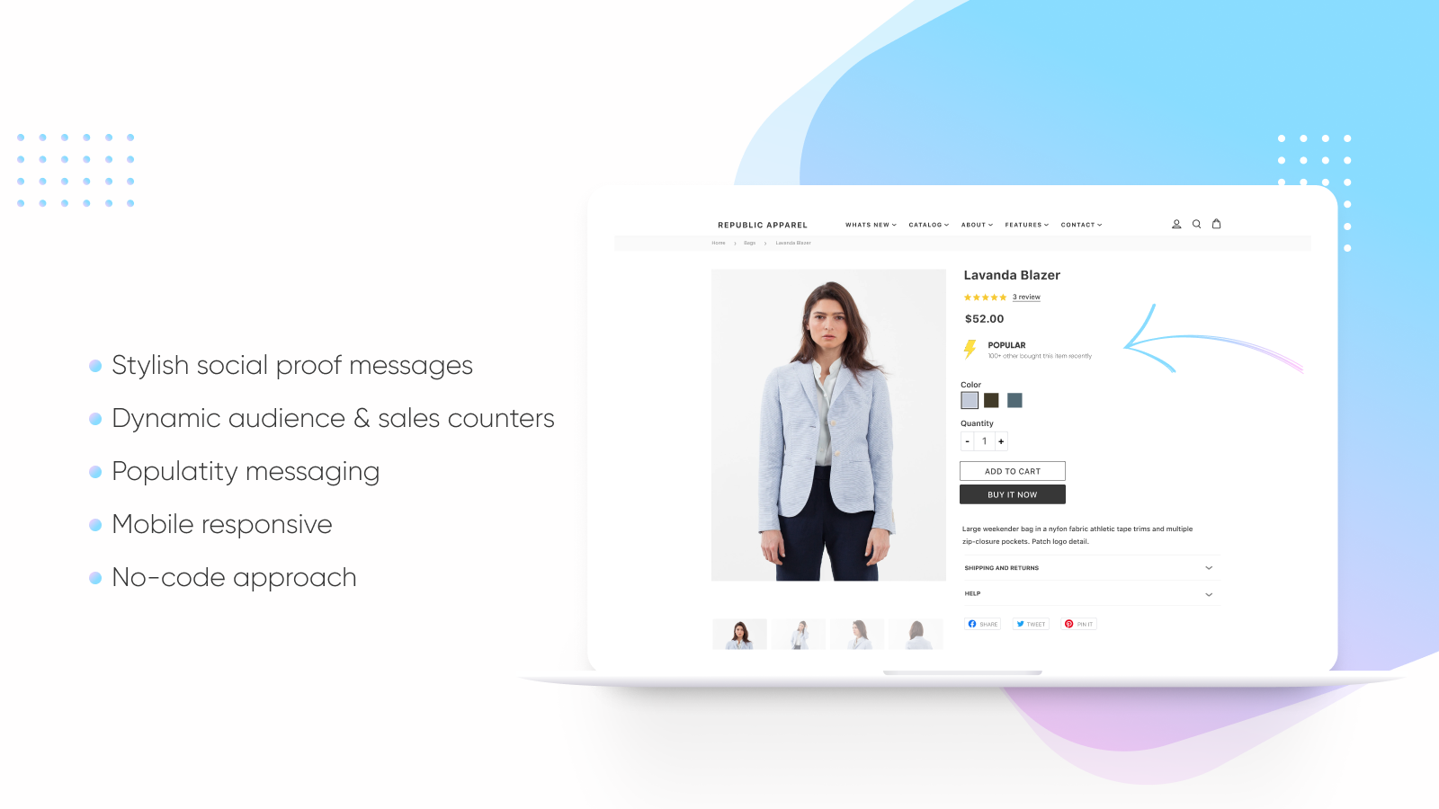 Display social proof messaging on product details
