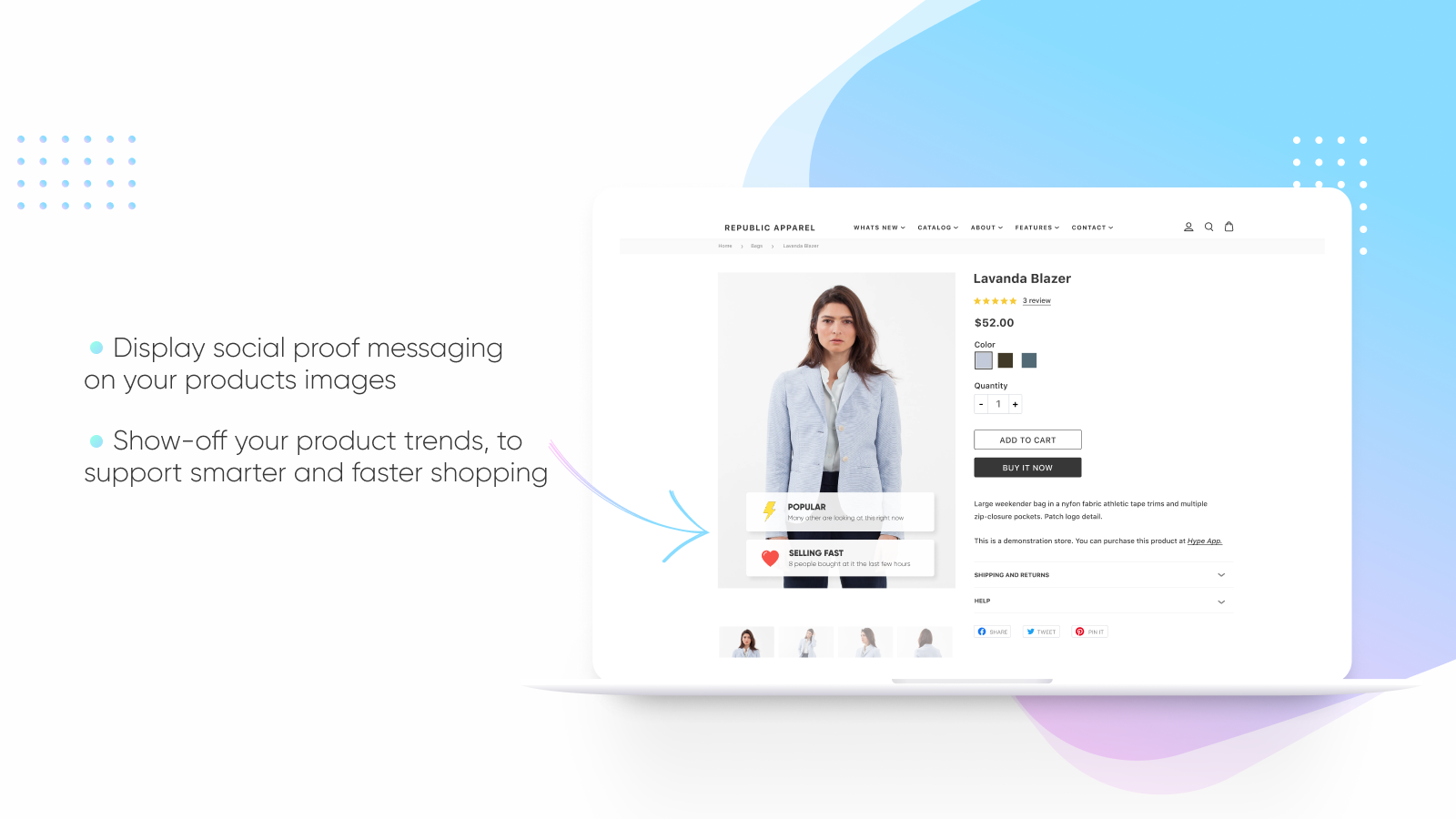 Display social proof messaging on product images