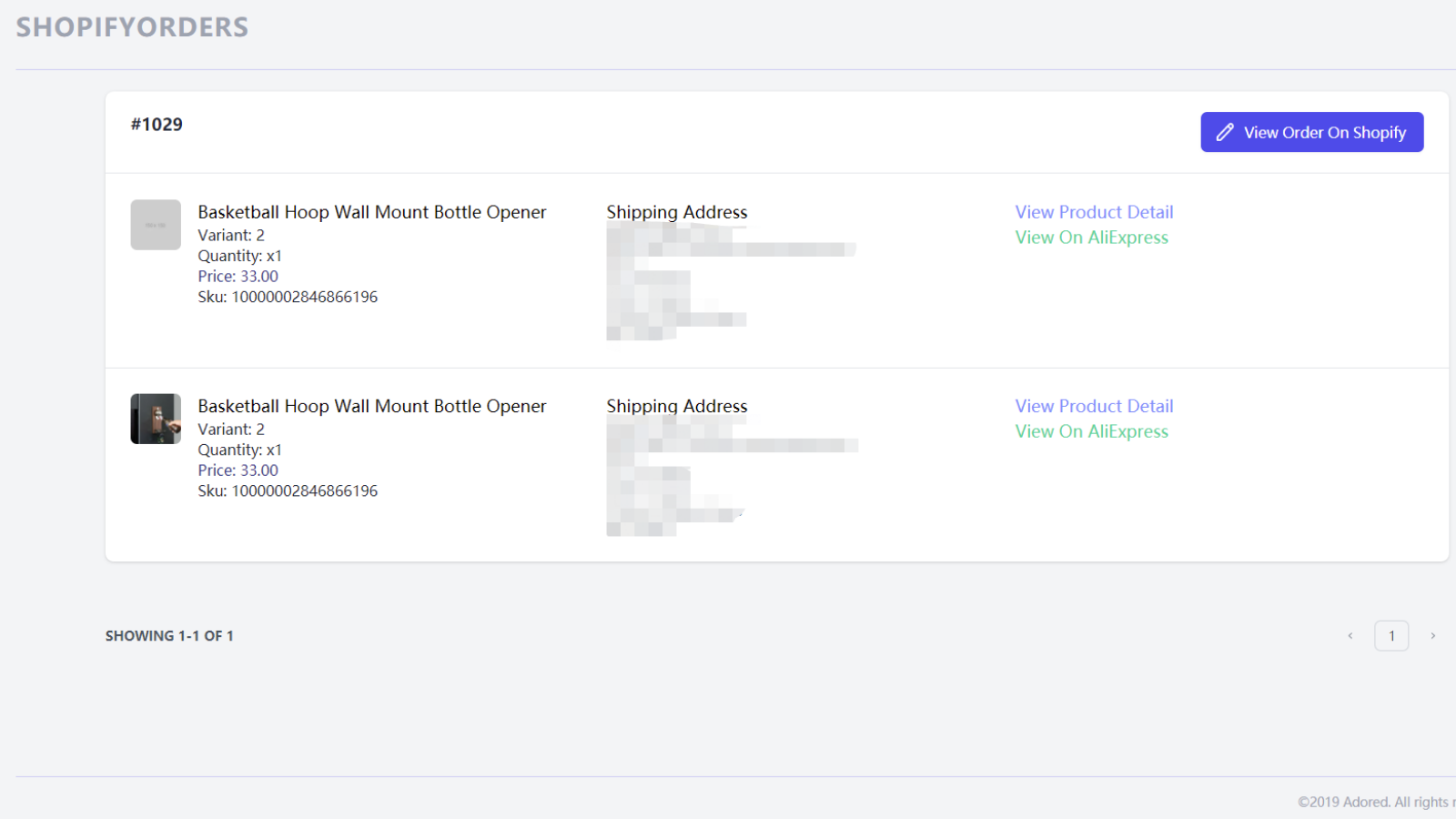 Orders synced from your store