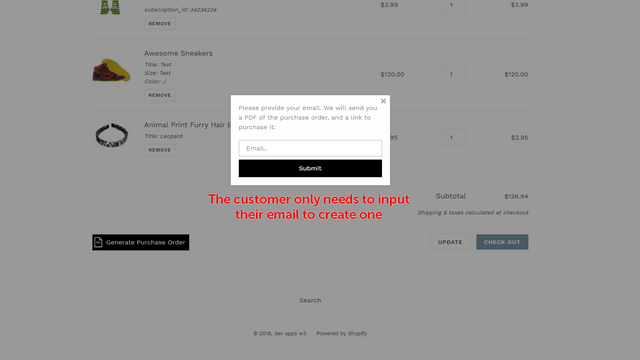 Purchase order popup