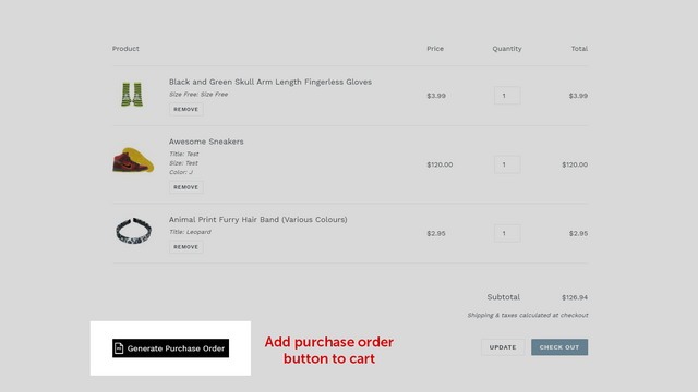 Purchase order button in the cart