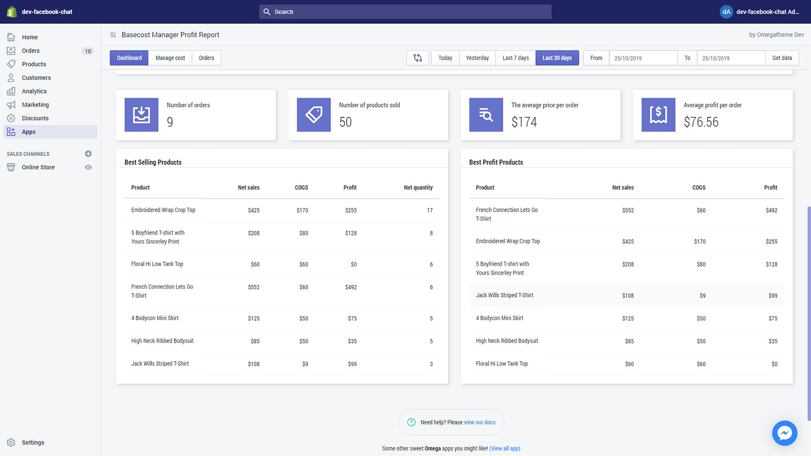 Basecost manager profit report