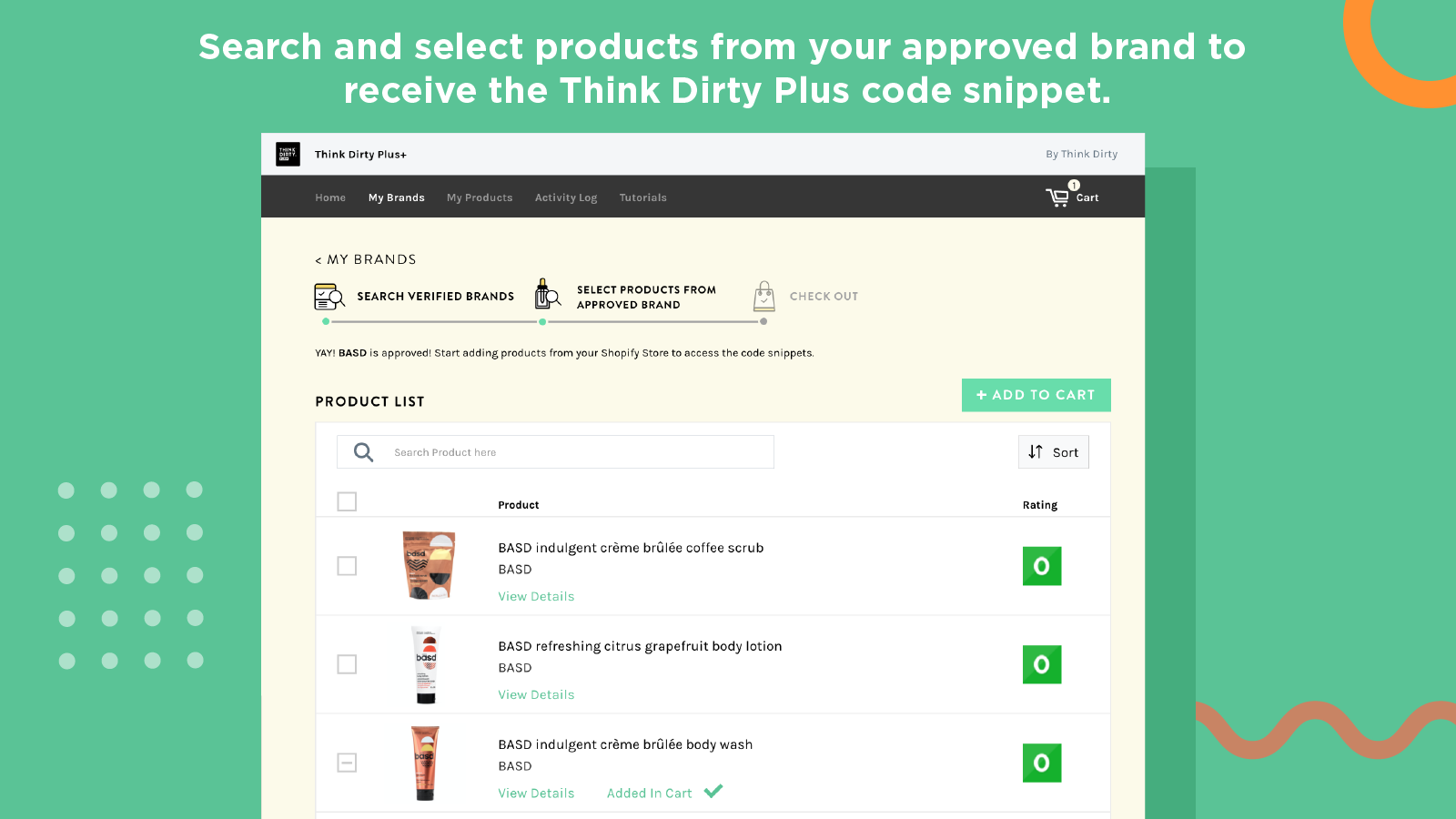 Search and select products from your approved brands