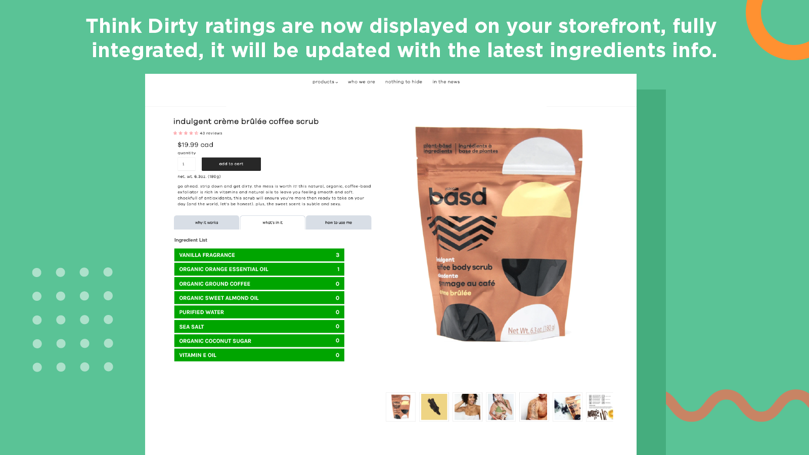 Think Dirty ratings are now displayed on your storefront