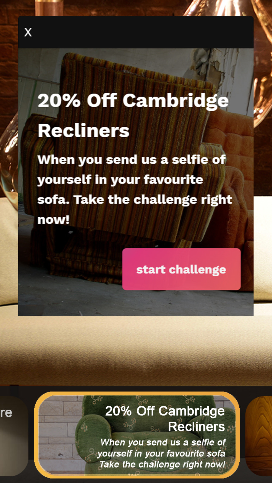 Challenges display great (on mobile too) right from your store