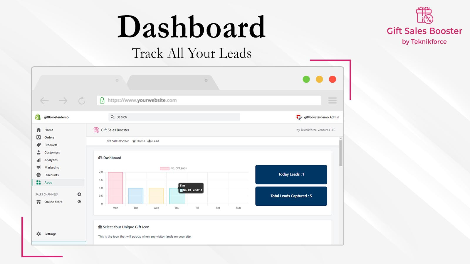 Gift Sales Booster lead dashboard