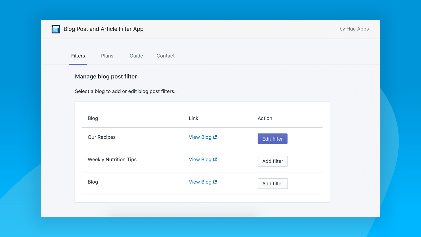 Filter for Shopify blogs