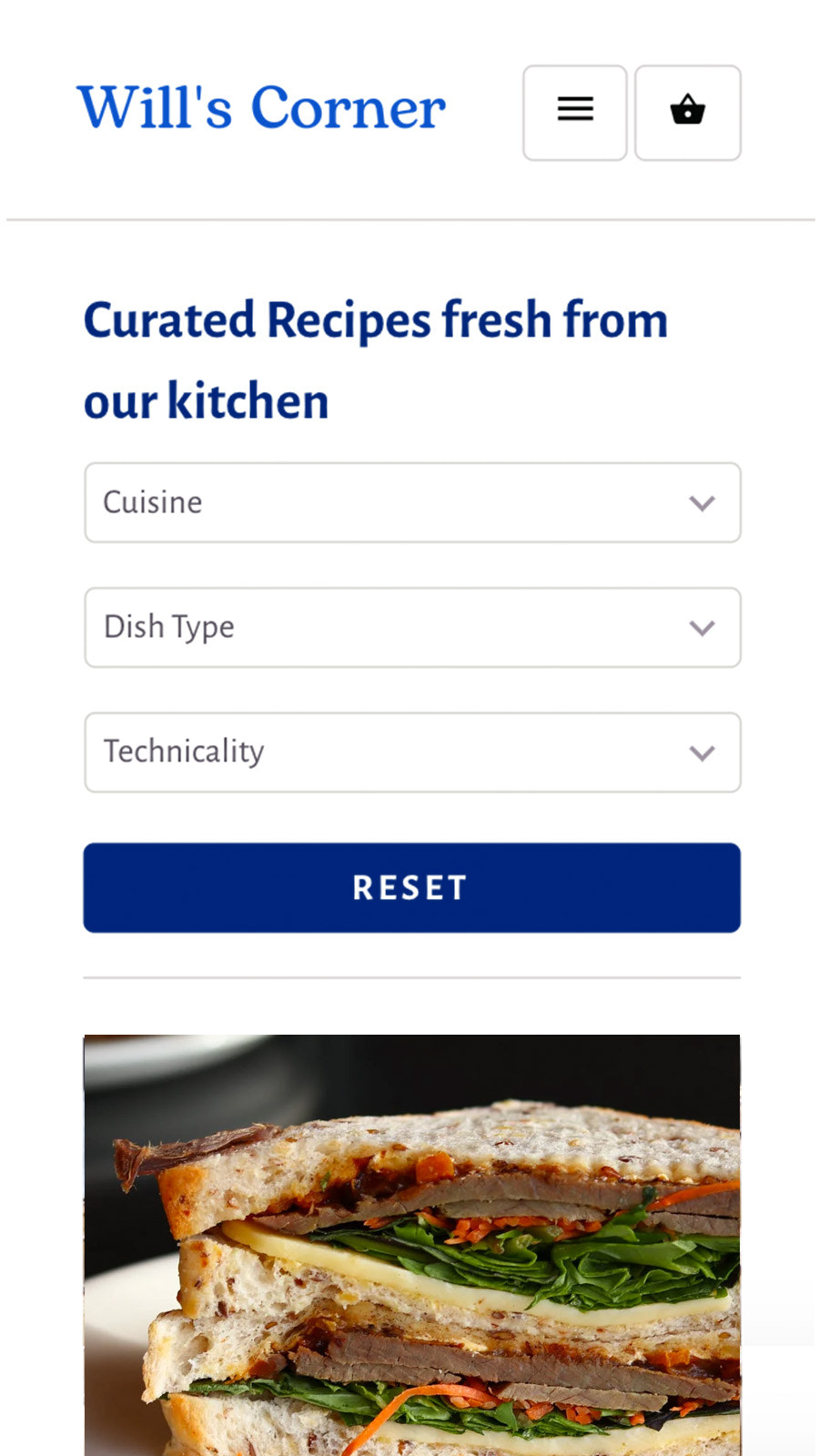 Recipe with Shopify blog filter on mobile