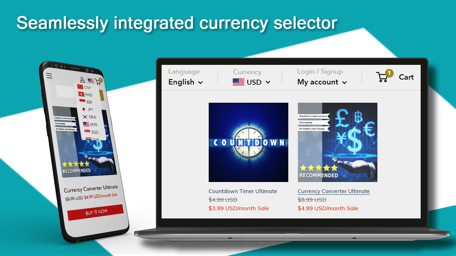 Integrated currency selector designs in currency converter