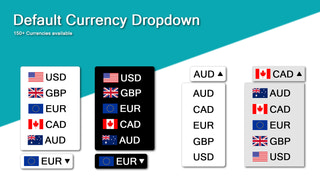 Default currency selector component