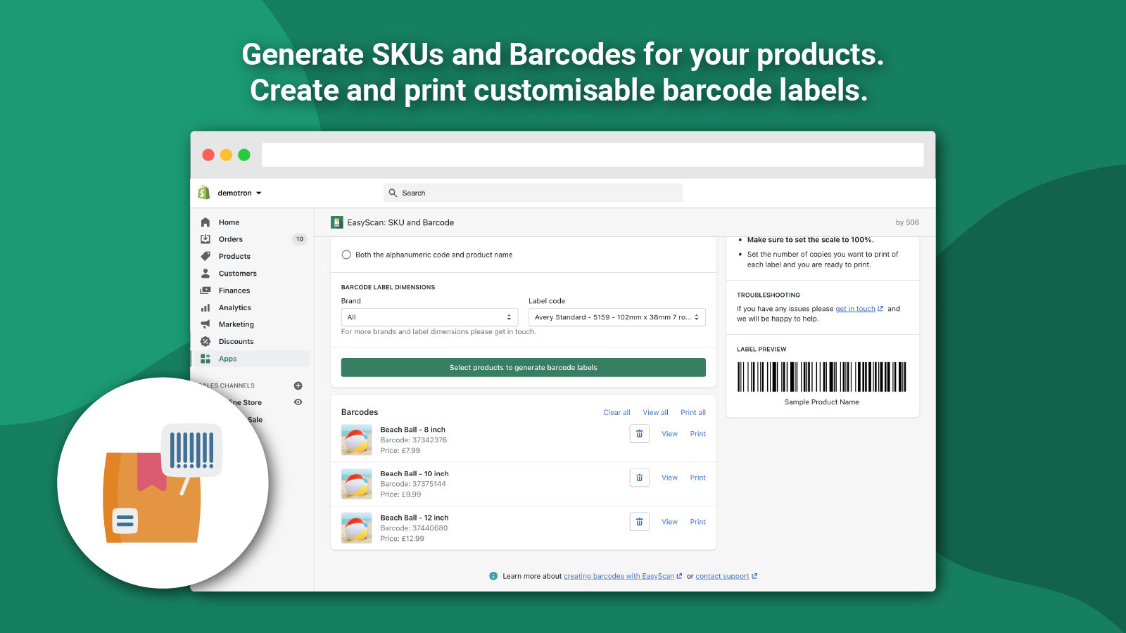 Generate and print barcodes