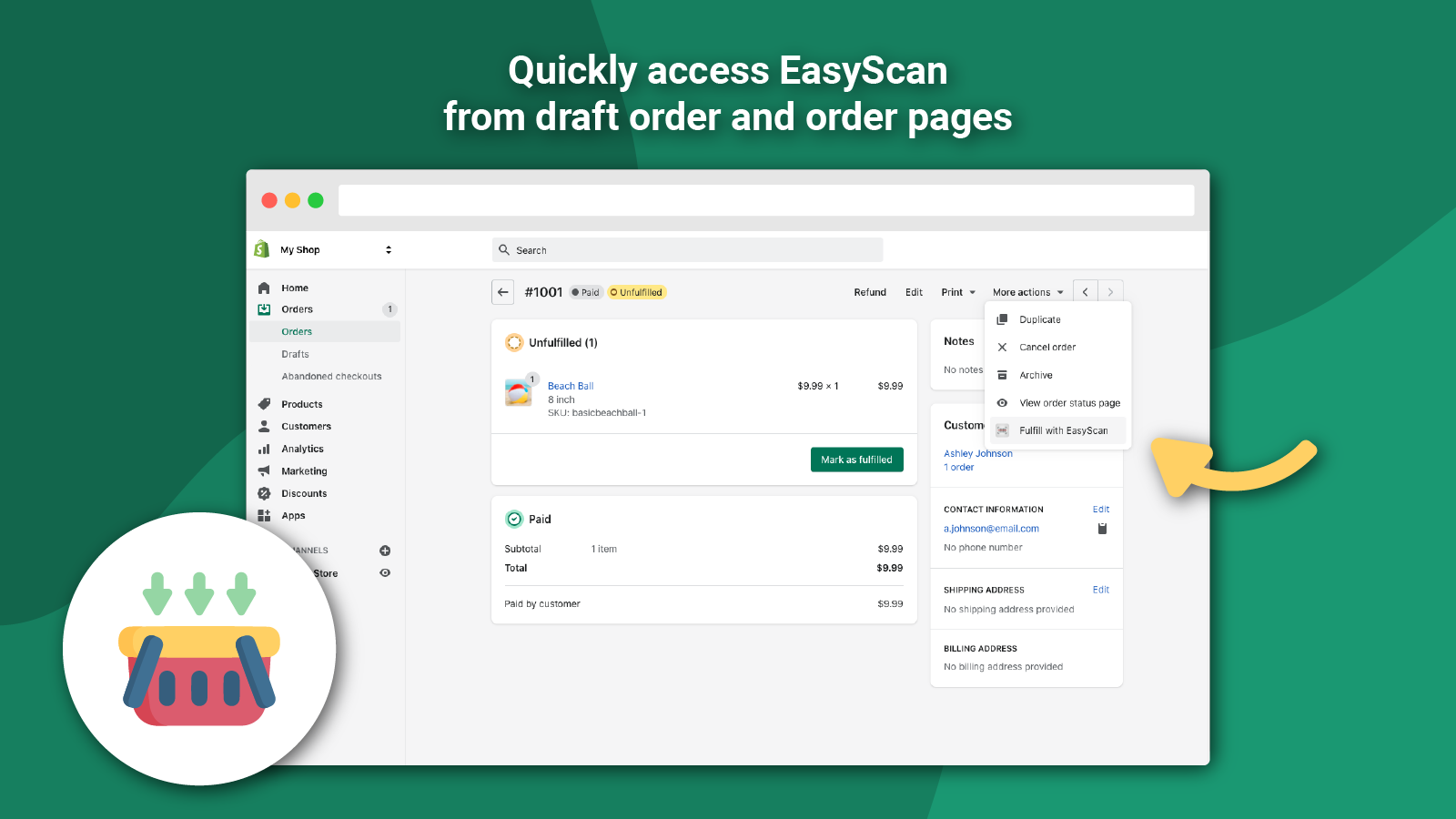 Quick access from draft order and order pages