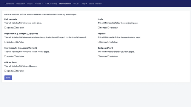 Sitemap NoIndex Manager Misc