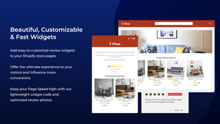 product review widgets, review carousel, stars ratings, badges