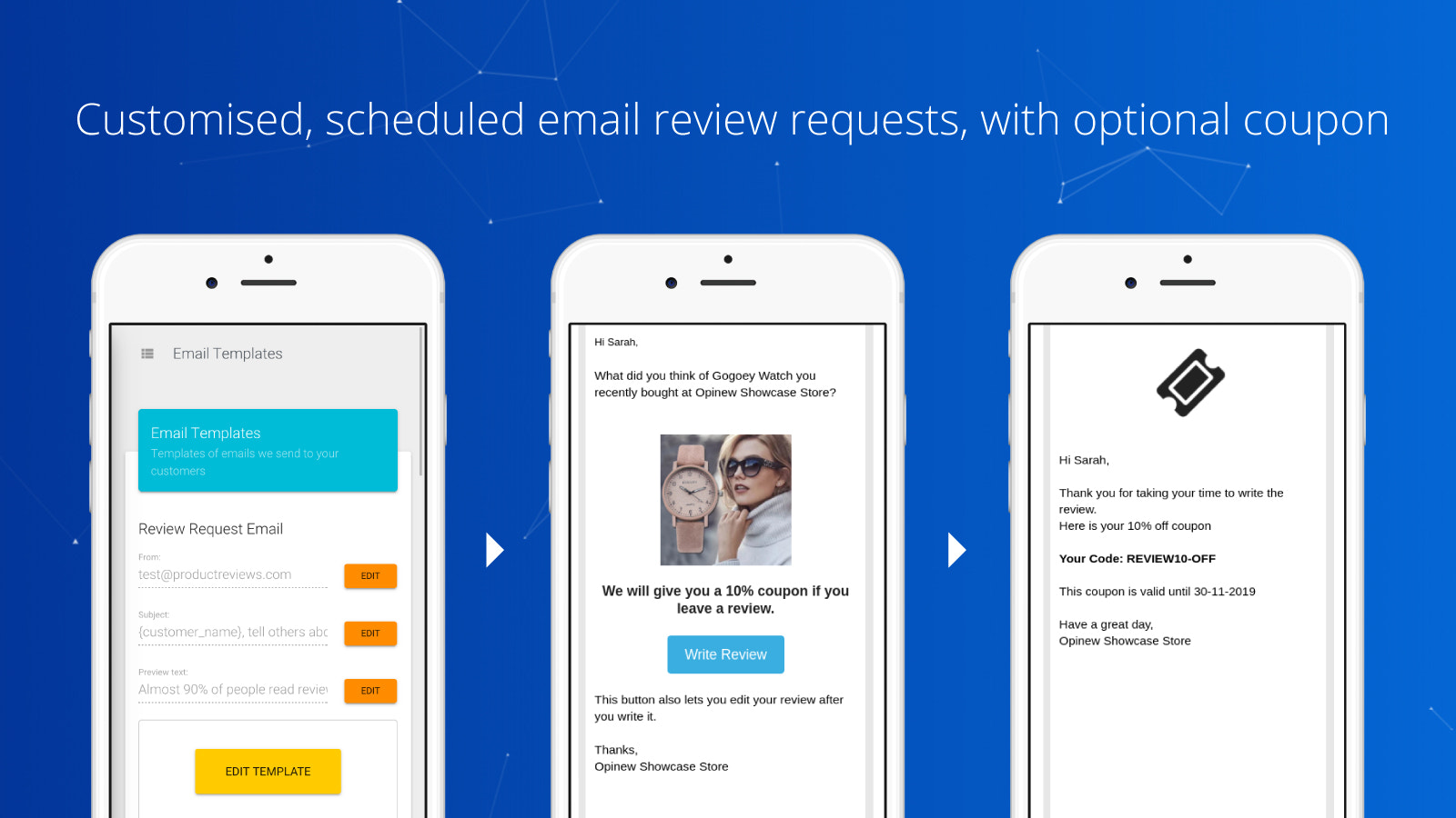 product reviews form. Review email, review sms, sales conversion