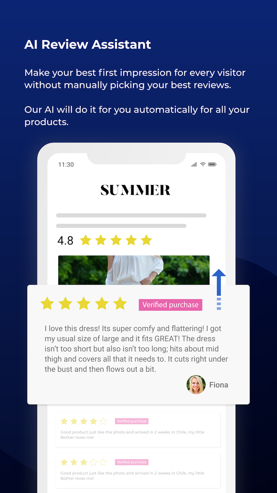 AI review assistant, filter and display only the best reviews