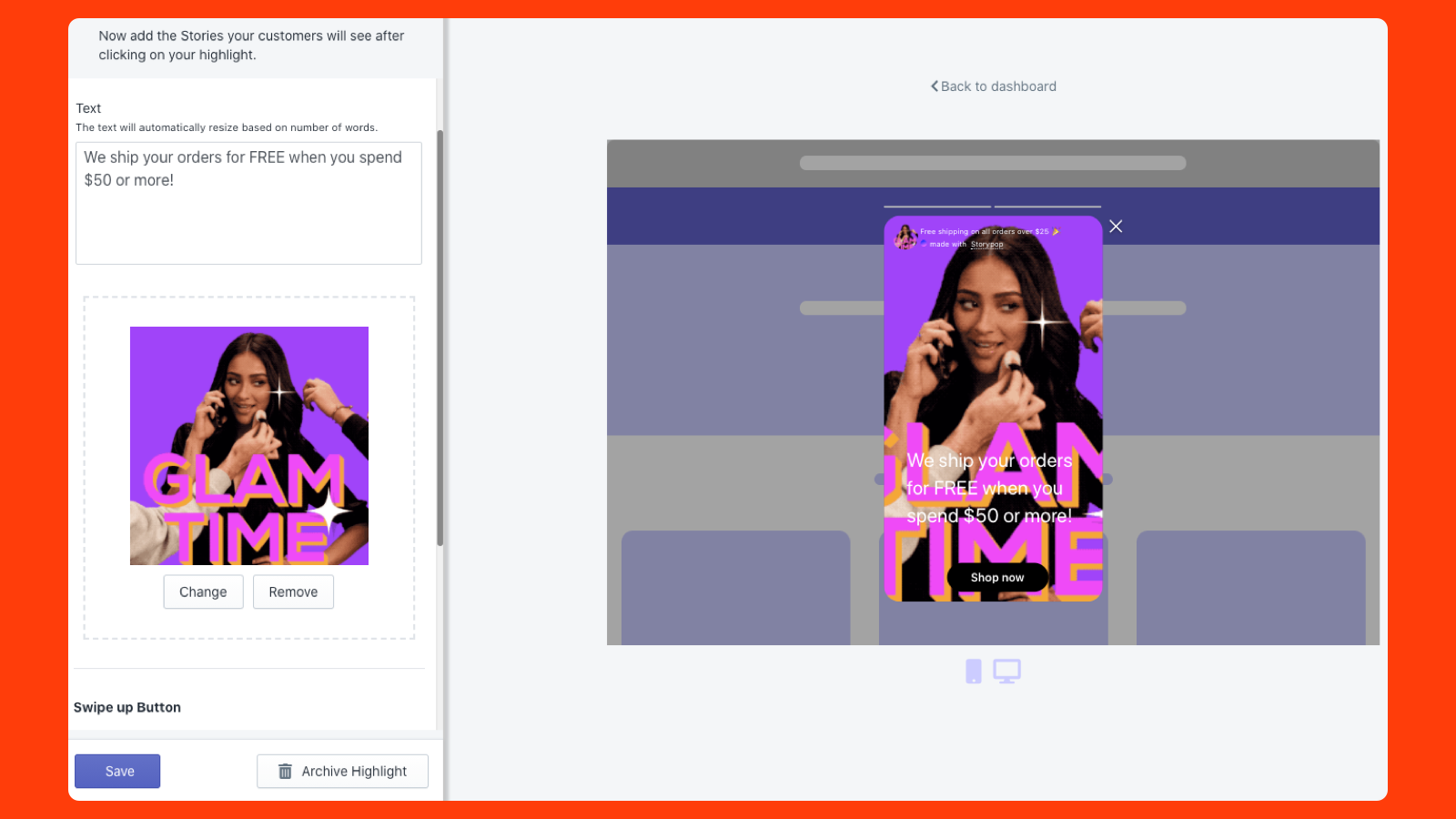 Interactive & Social announcement bar with video and GIFs