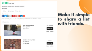 Easily share a list with family or friends