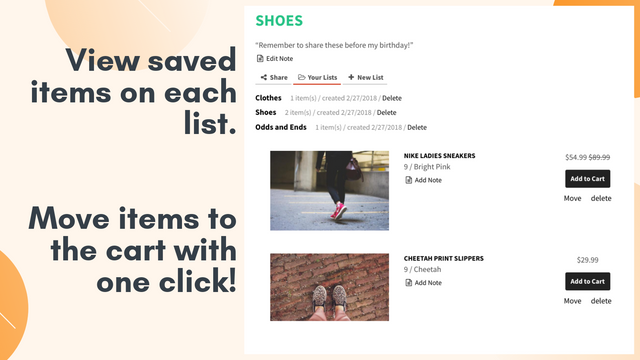 View and manage items, adding to the cart with one click