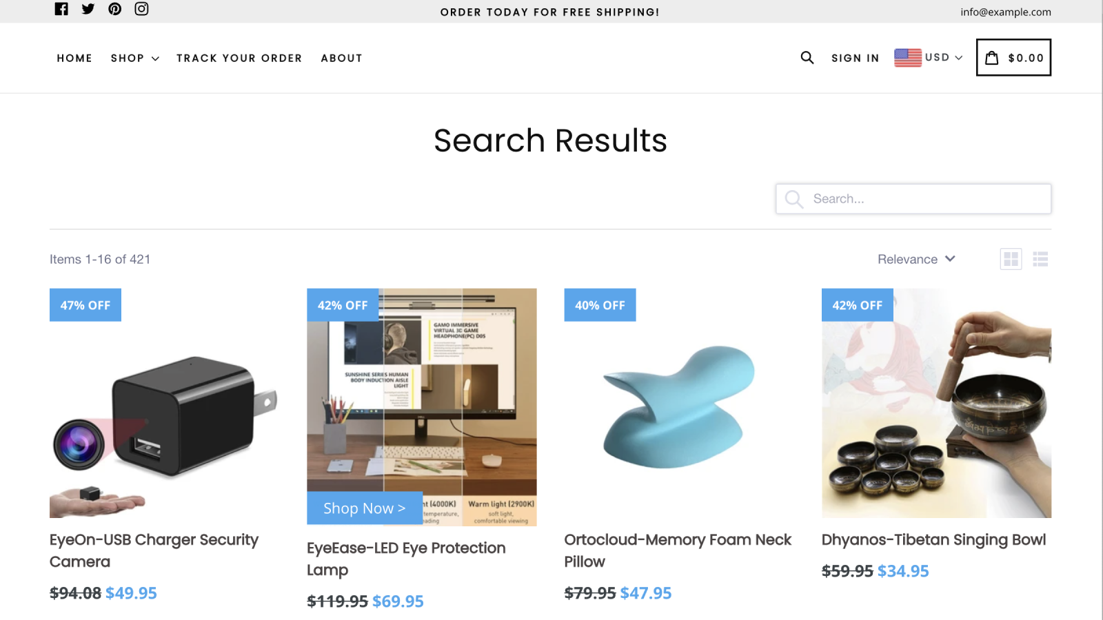 Example of search results