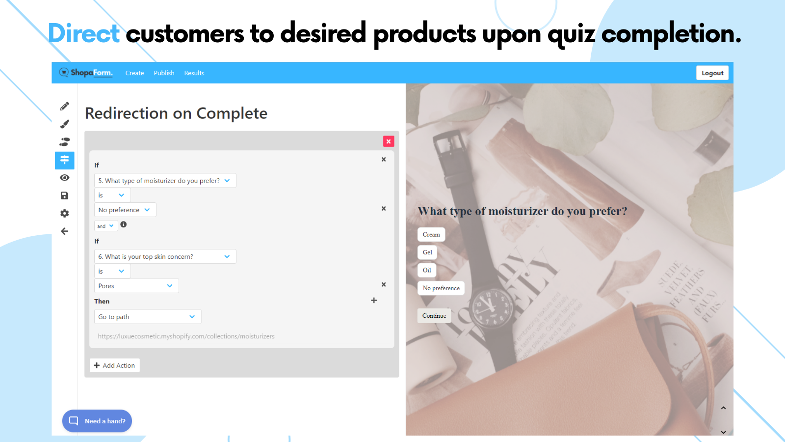 Shopaform Redirection and Recommendation on Complete