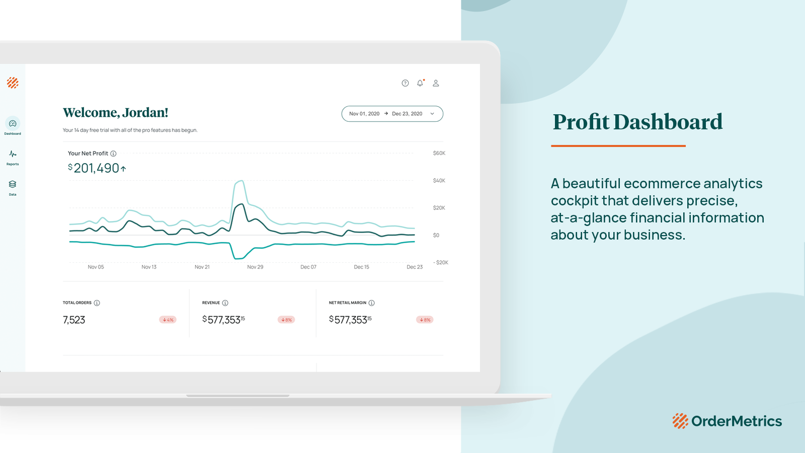 Beautiful, at-a-glance ecommerce analytics and financial info.