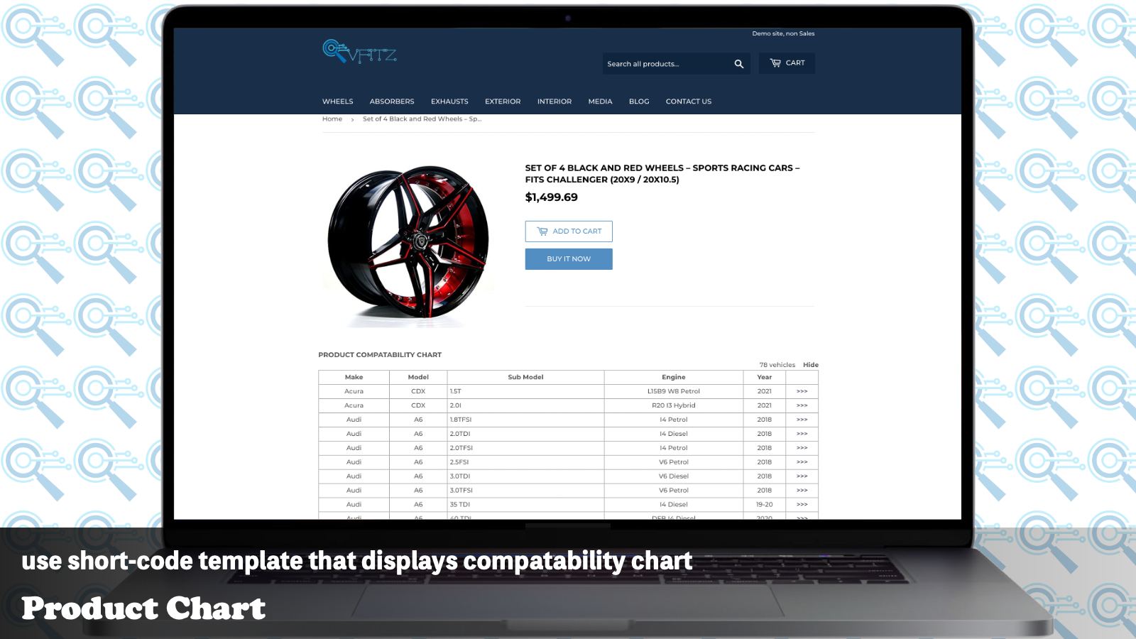 Use short-code template that displays compatible chart