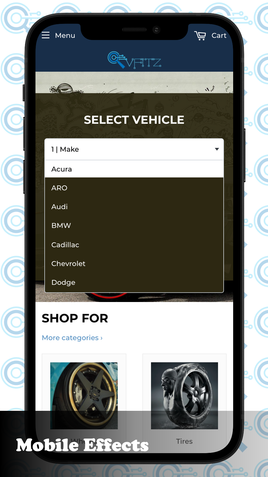 """Mobile Using key searches such as the """"Year Make Model Trim YMM"""
