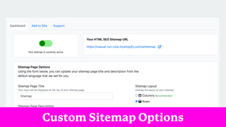 Simple Dashboard to Manage Sitemap + Options