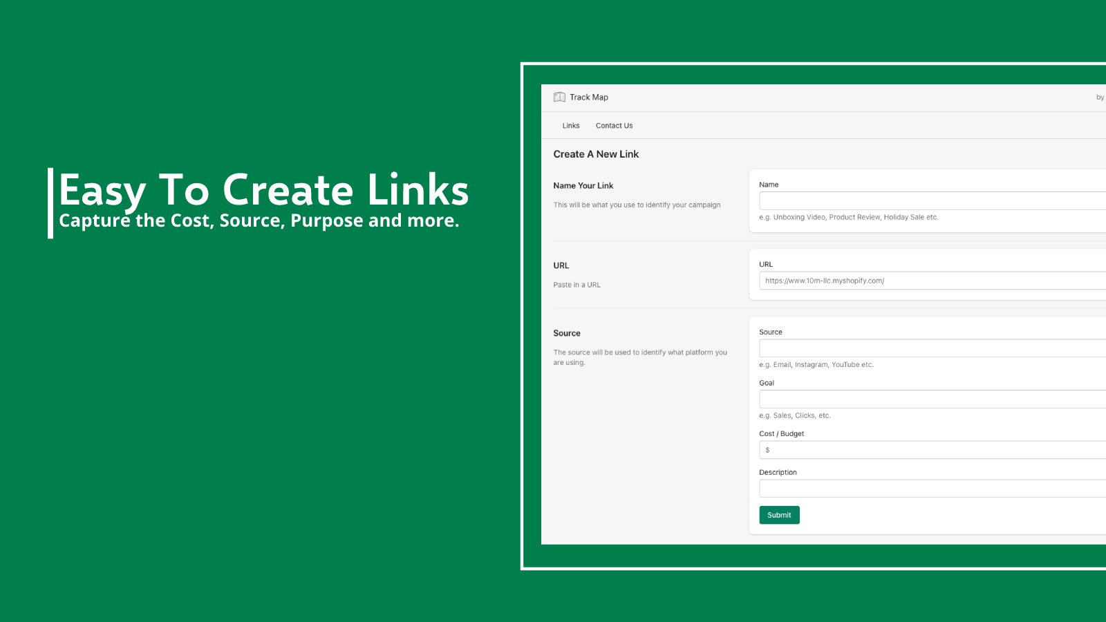 Create links in seconds