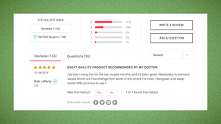 Product Reviews on Product Page