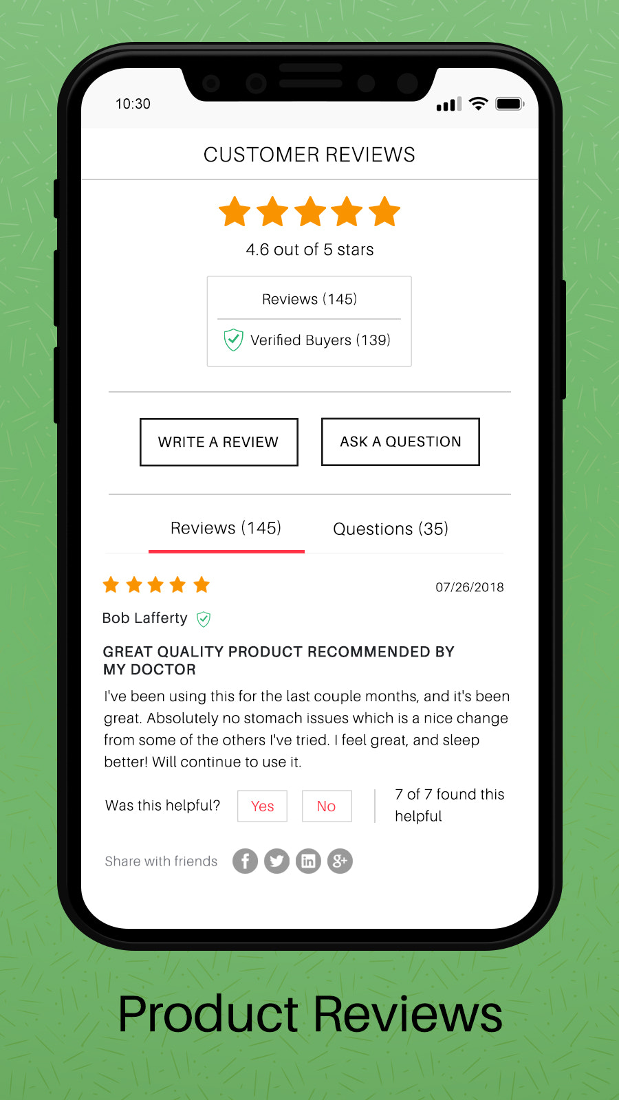 Product Reviews on Product Pages mobile