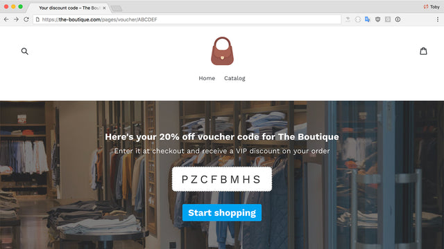 screen showing sample voucher landing page