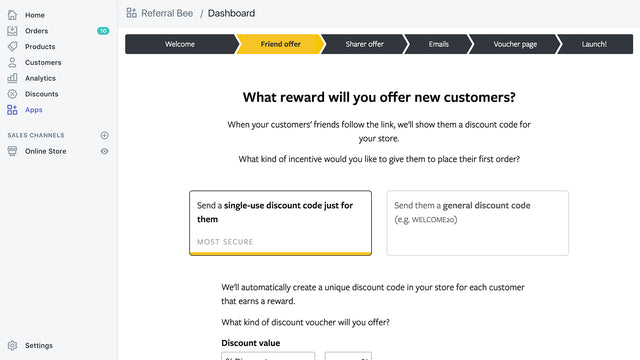 screen showing reward options for new customers